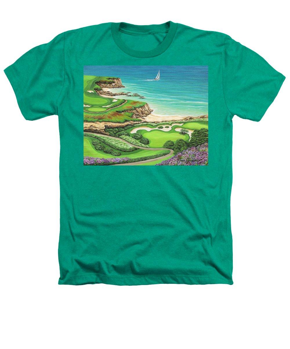 Ocean Heathers T-Shirt featuring the painting Newport Coast by Jane Girardot