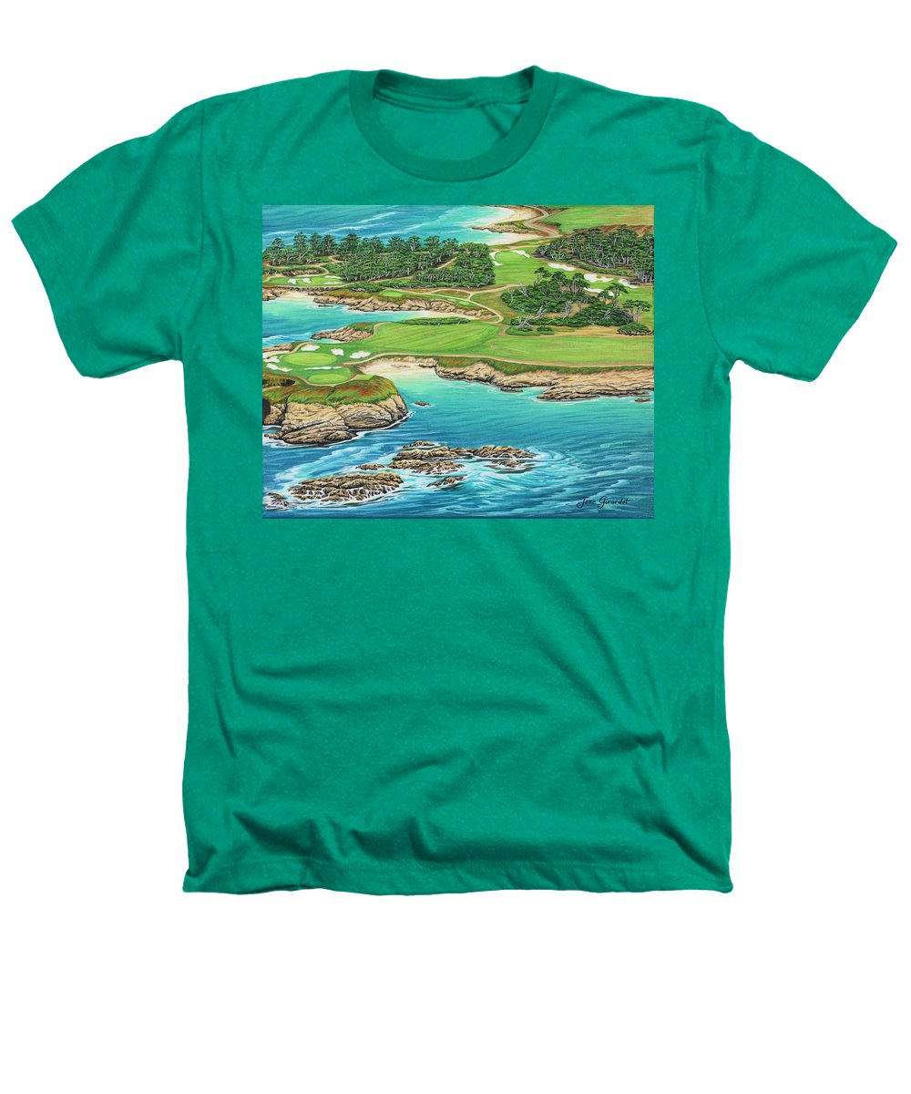 Ocean Heathers T-Shirt featuring the painting Pebble Beach 15th Hole-south by Jane Girardot