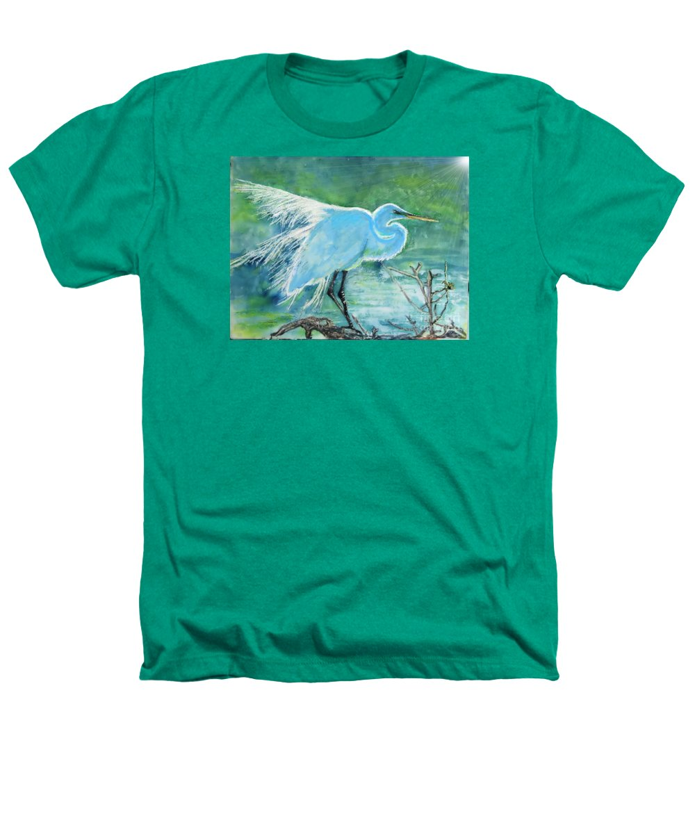 Egret Heathers T-Shirt featuring the painting Egret In The Summer Breeze by Dawn Johansen