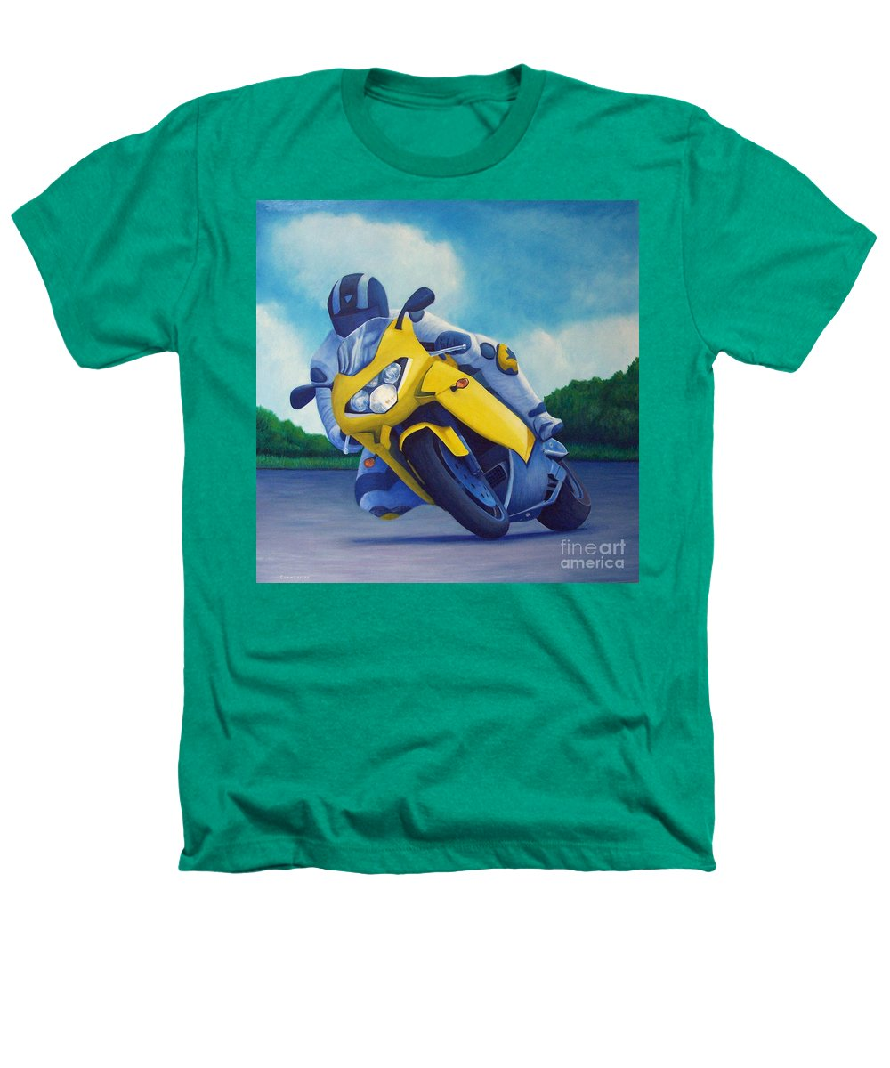 Motorcycle Heathers T-Shirt featuring the painting Aprilla - Tuesday Afternoon by Brian Commerford