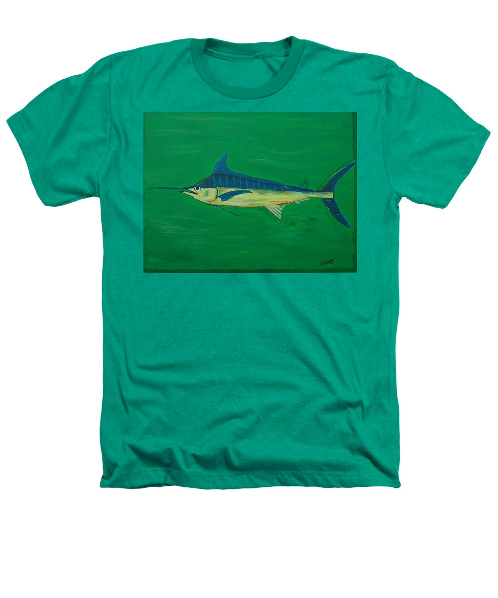Blue Marlin Heathers T-Shirt featuring the painting Big Fish by Angela Miles Varnado