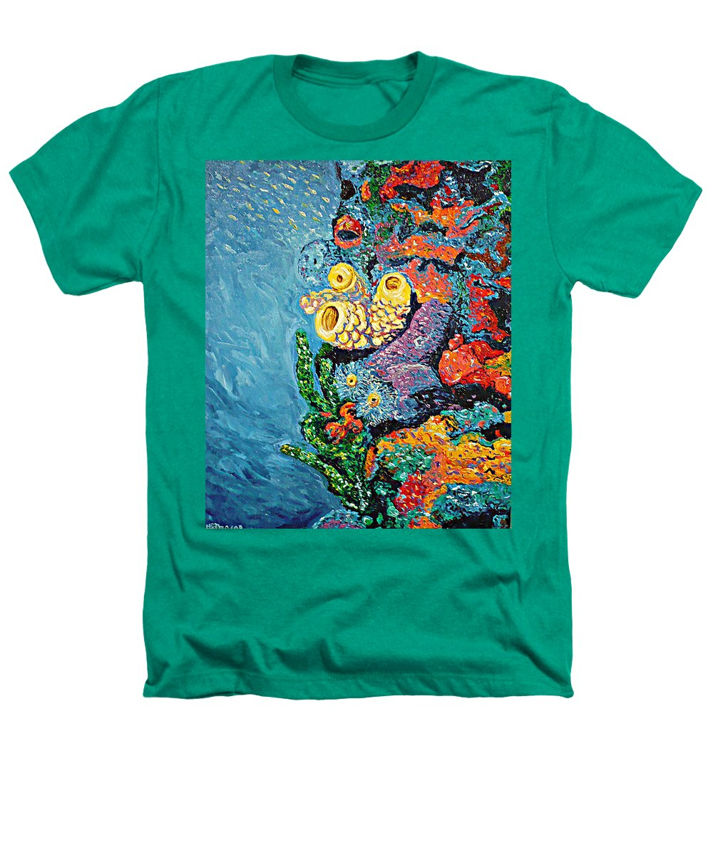 Coral Heathers T-Shirt featuring the painting Coral With Cucumber by Ericka Herazo