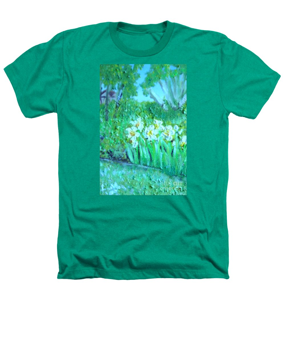 Daffodils Heathers T-Shirt featuring the painting Dependable Daffodils by Laurie Morgan