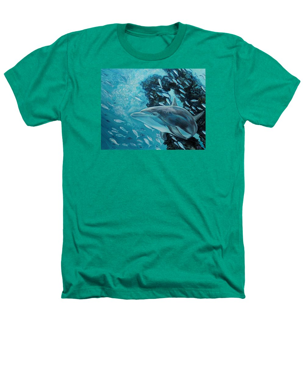Underwater Scene Heathers T-Shirt featuring the painting Dolphin With Small Fish by Diann Baggett