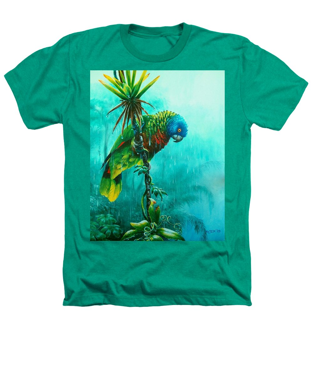 Chris Cox Heathers T-Shirt featuring the painting Drenched - St. Lucia Parrot by Christopher Cox