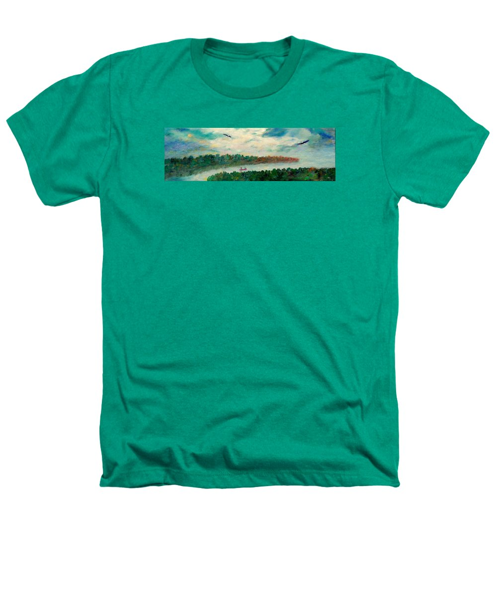 Canoeing On The Big Canadian Lakes Heathers T-Shirt featuring the painting Exploring Our Lake by Naomi Gerrard