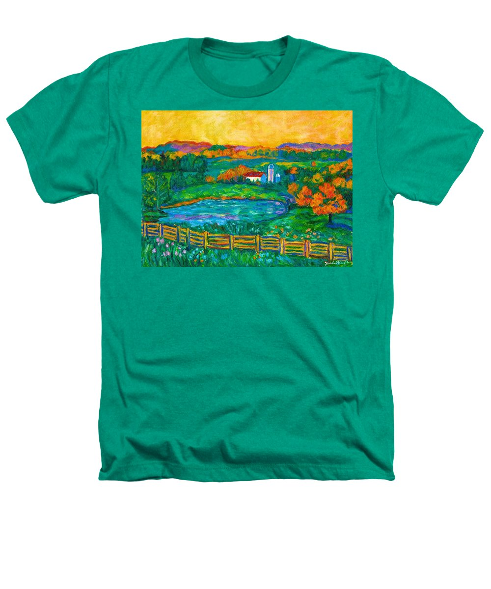 Landscape Heathers T-Shirt featuring the painting Golden Farm Scene Sketch by Kendall Kessler