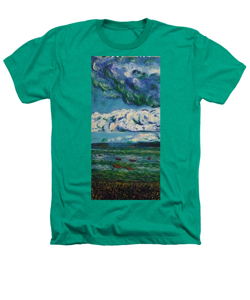 Landscape Heathers T-Shirt featuring the painting Green Beach by Ericka Herazo