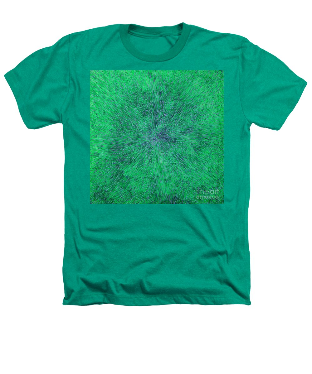Abstract Heathers T-Shirt featuring the painting Green Radation With Violet by Dean Triolo