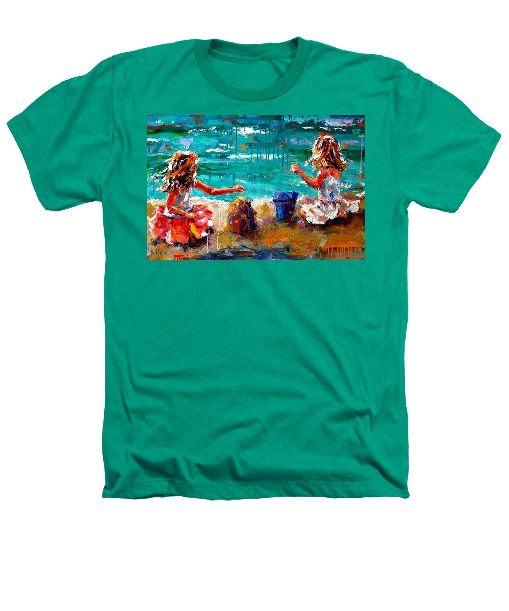 Seascape Heathers T-Shirt featuring the painting Her Blue Bucket by Debra Hurd