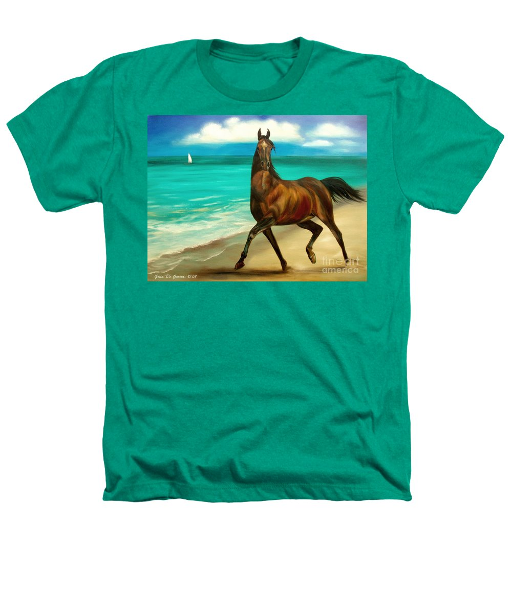 Horse Heathers T-Shirt featuring the painting Horses In Paradise Dance by Gina De Gorna