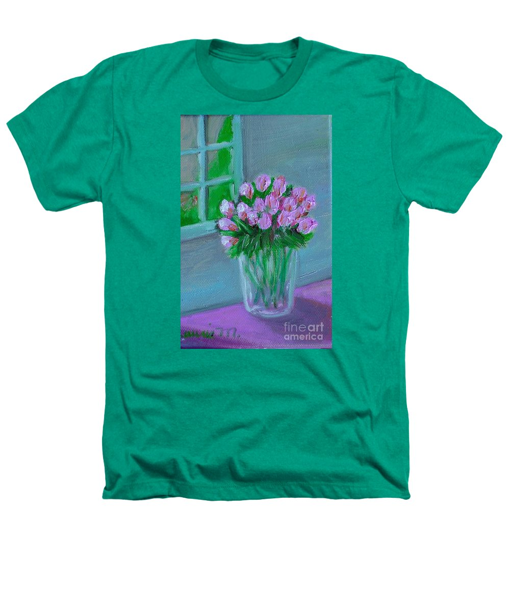 Rose Heathers T-Shirt featuring the painting Leslie's Roses by Laurie Morgan