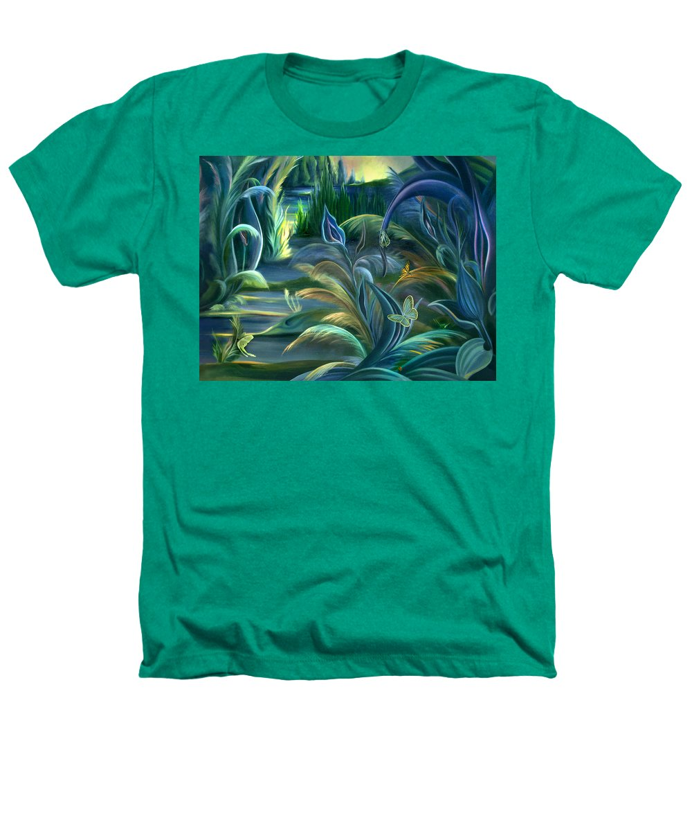 Mural Heathers T-Shirt featuring the painting Mural Insects Of Enchanted Stream by Nancy Griswold