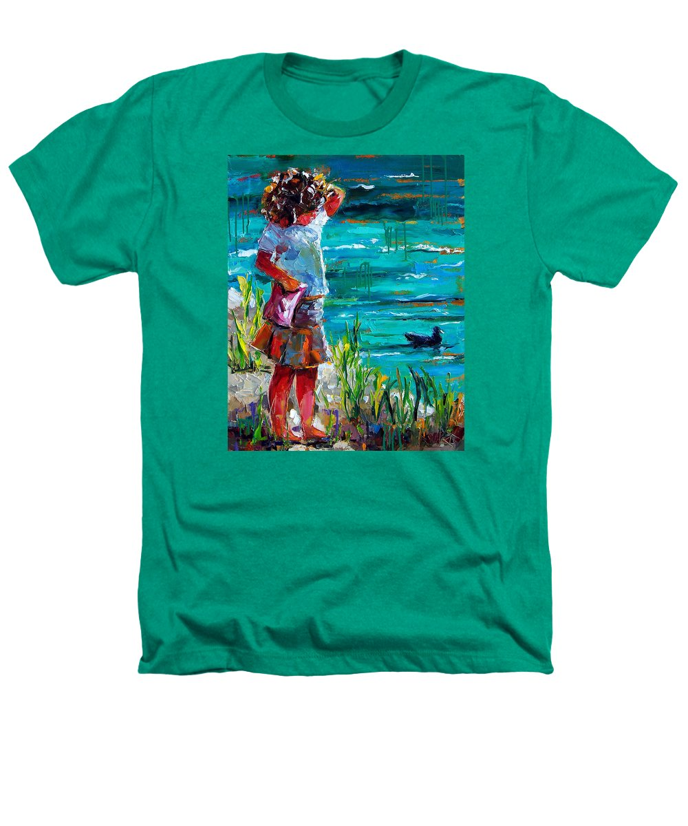 Children Heathers T-Shirt featuring the painting One Lucky Duck by Debra Hurd