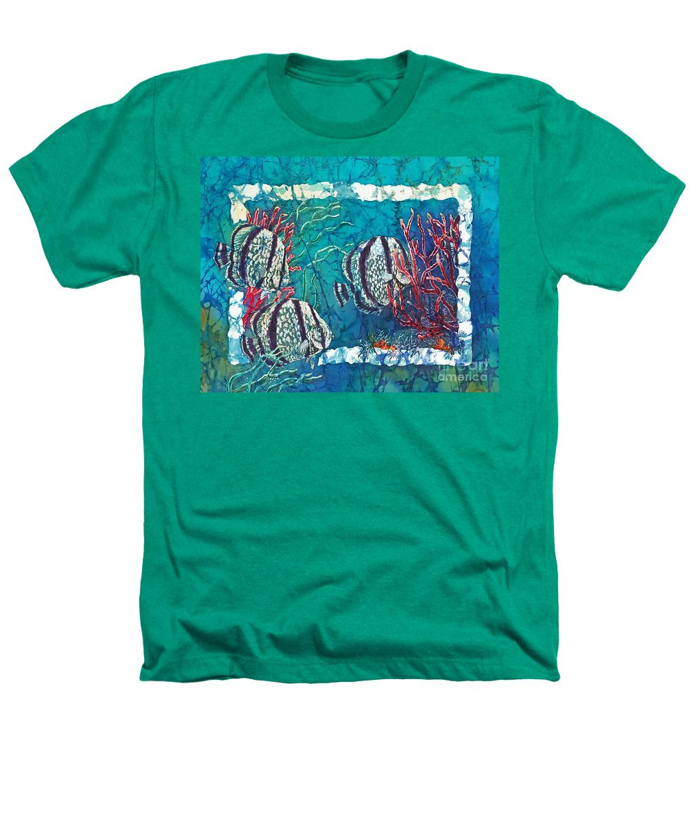 Fish Heathers T-Shirt featuring the painting Playful Trio by Sue Duda