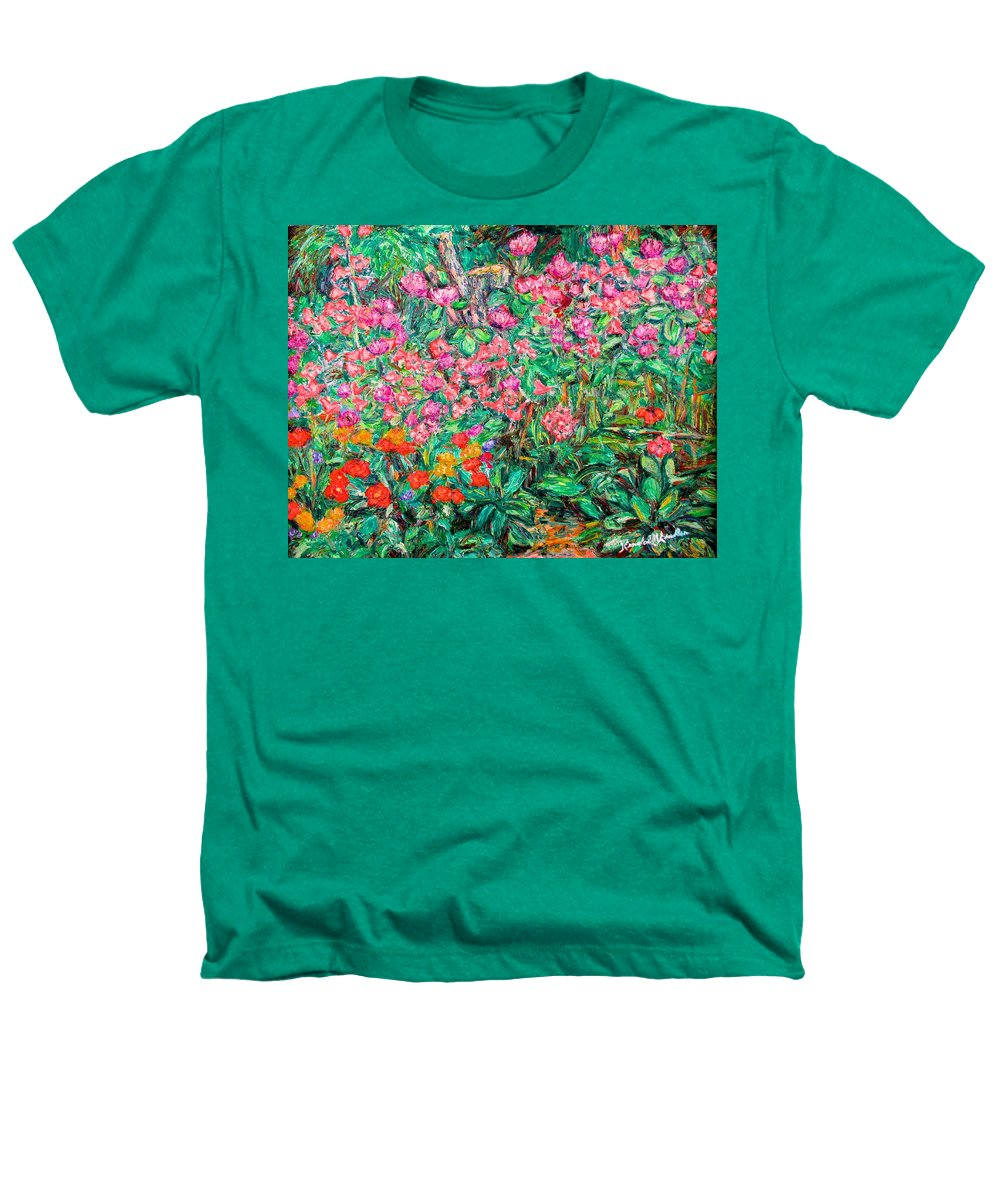 Kendall Kessler Heathers T-Shirt featuring the painting Radford Flower Garden by Kendall Kessler