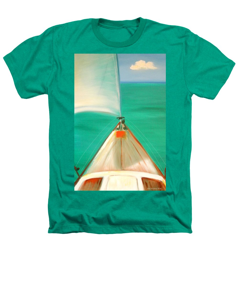 Sea Heathers T-Shirt featuring the painting Sailing by Gina De Gorna