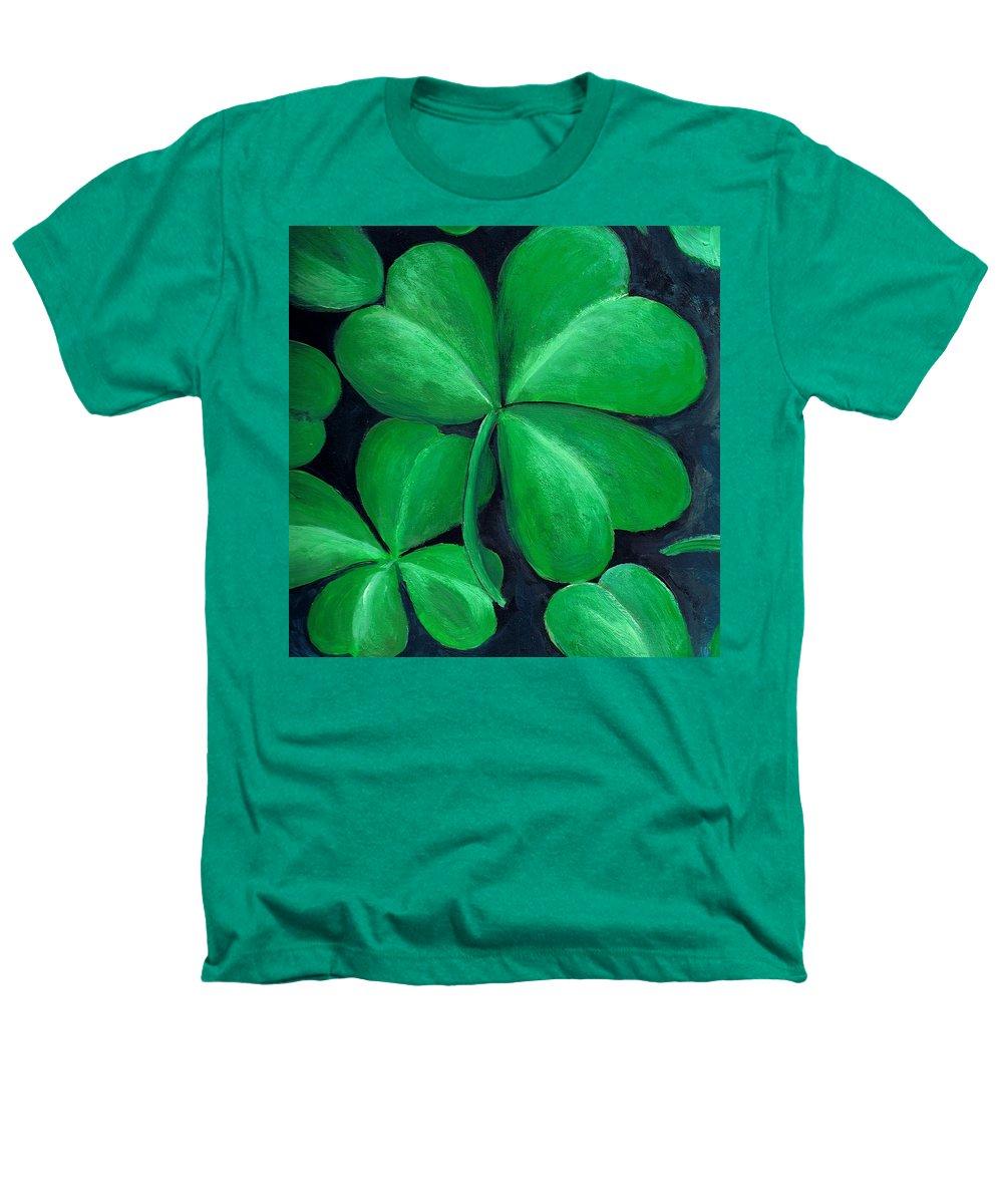 Shamrock Heathers T-Shirt featuring the painting Shamrocks by Nancy Mueller