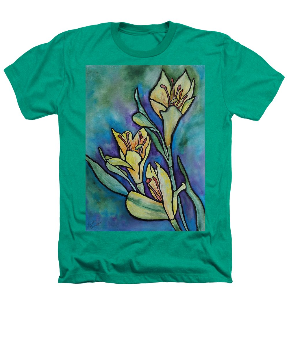 Flowers Heathers T-Shirt featuring the painting Stained Glass Flowers by Ruth Kamenev