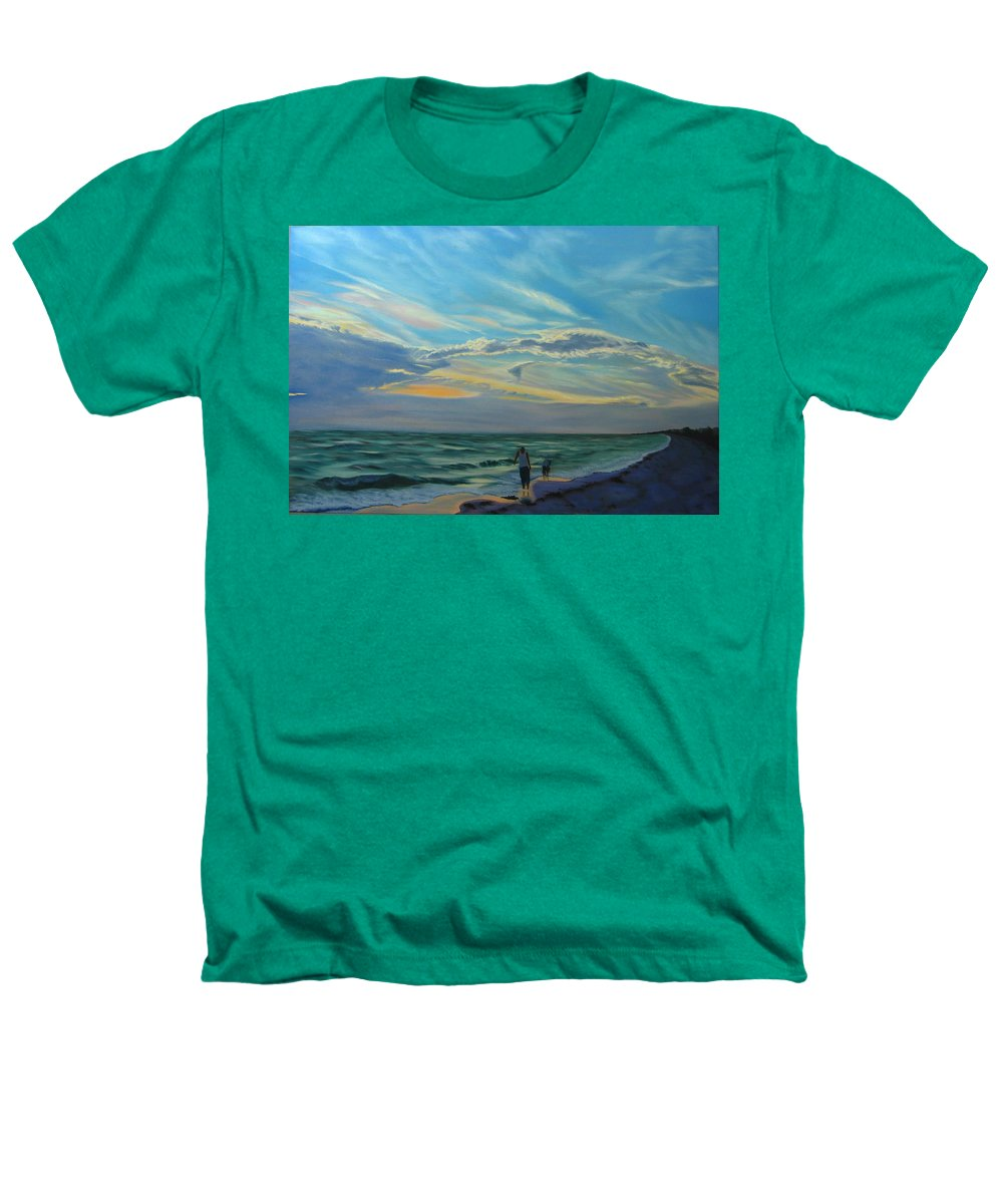 Seascape Heathers T-Shirt featuring the painting Sunset Treasure Hunt by Lea Novak