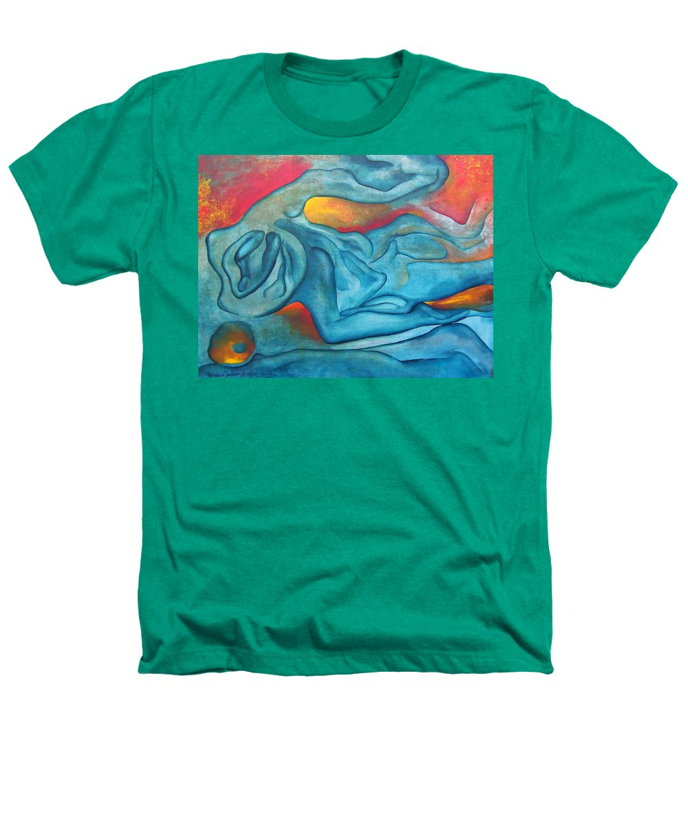 Abstract Blues Love Passion Sensual Earth Heathers T-Shirt featuring the painting Tangled Up by Veronica Jackson
