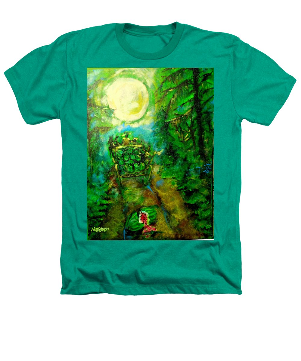 Watermelon Wagon Moon Heathers T-Shirt featuring the painting Watermelon Wagon Moon by Seth Weaver