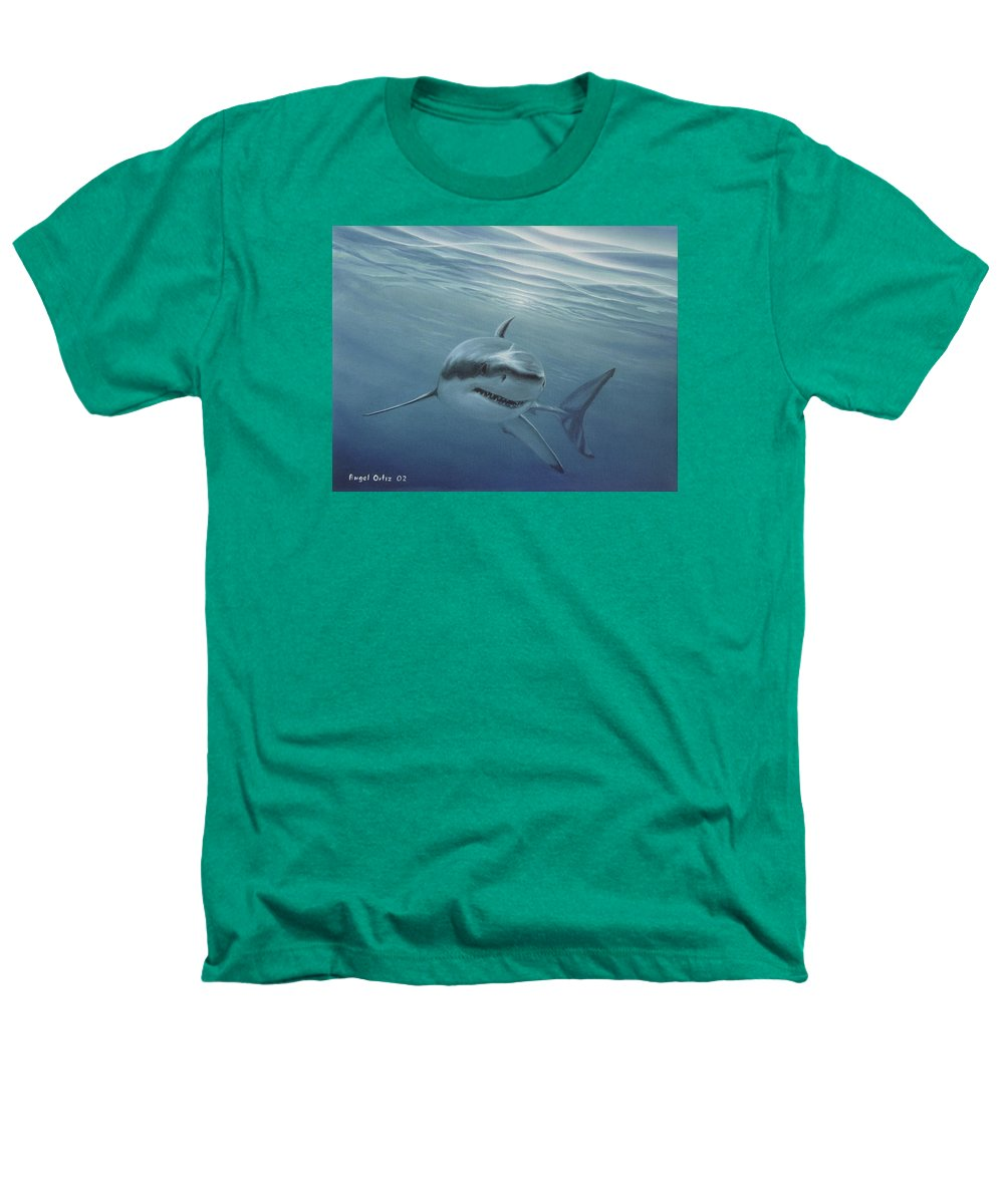 Shark Heathers T-Shirt featuring the painting White Shark by Angel Ortiz