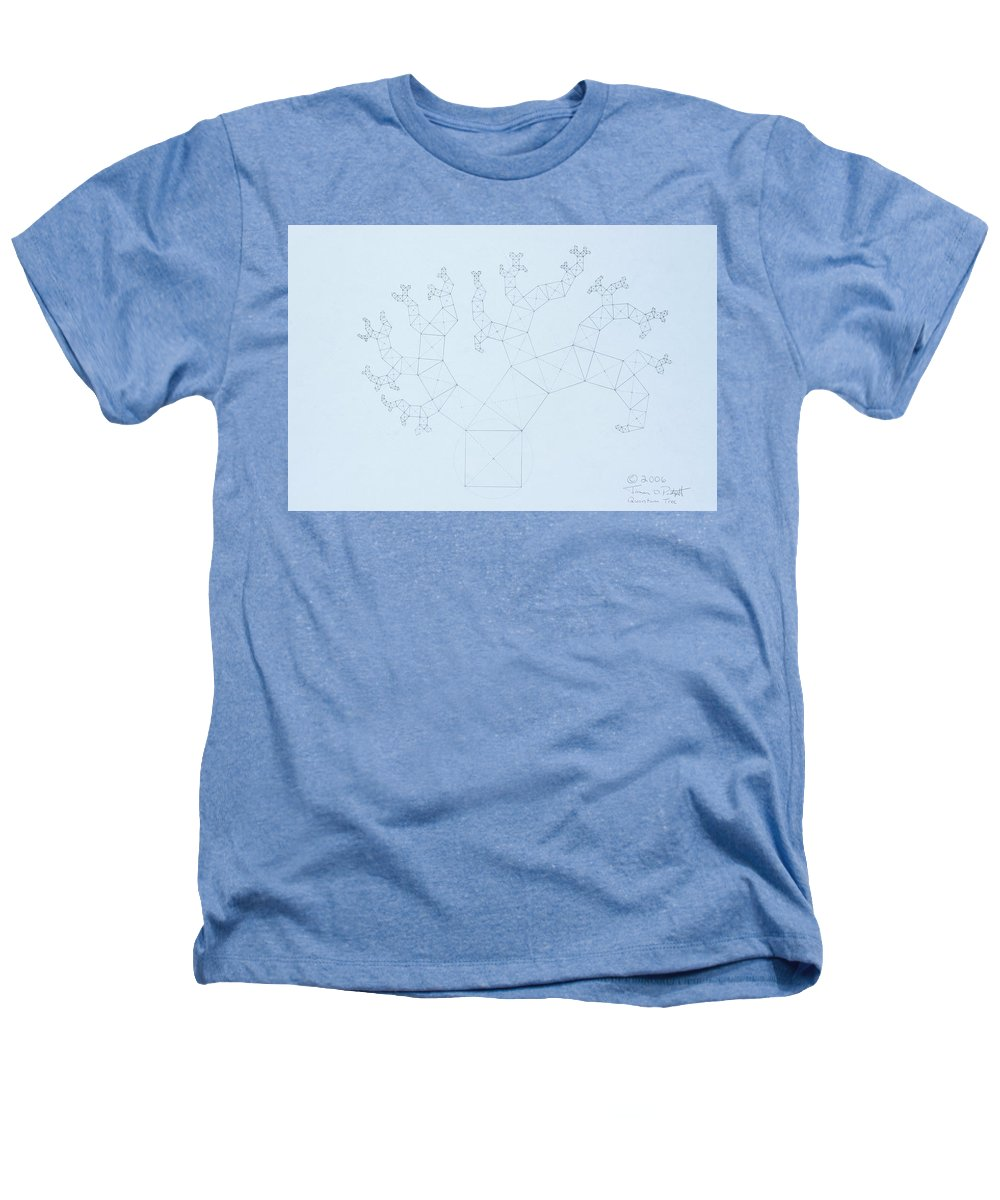Fractal Tree Heathers T-Shirt featuring the drawing Quantum Tree by Jason Padgett