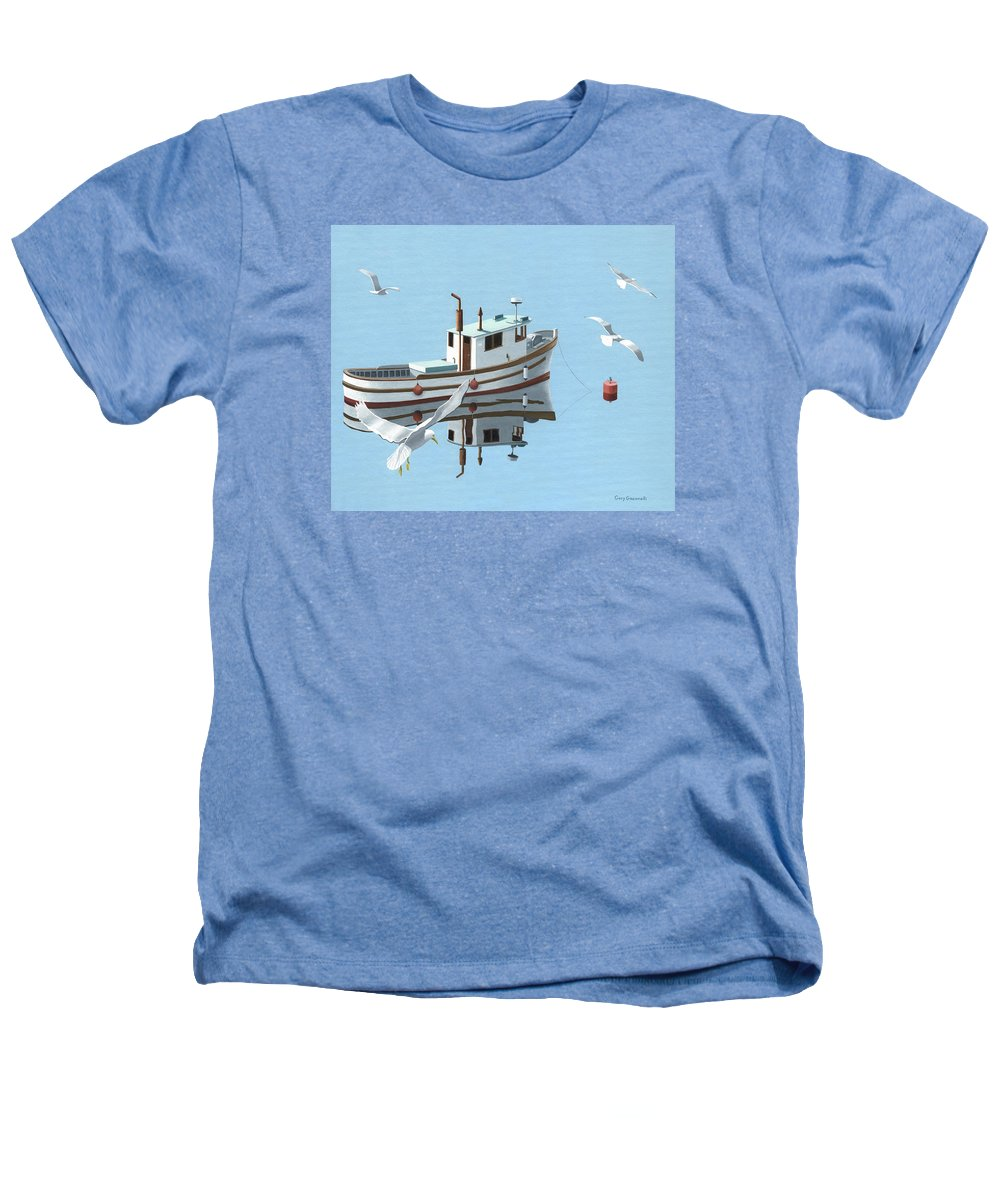 Boat Heathers T-Shirt featuring the painting A Contemplation Of Seagulls by Gary Giacomelli