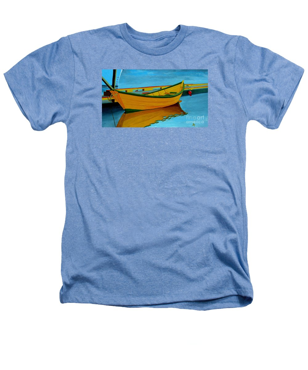 Grand Banks Heathers T-Shirt featuring the painting A Grand Banks Dory by Anthony Dunphy