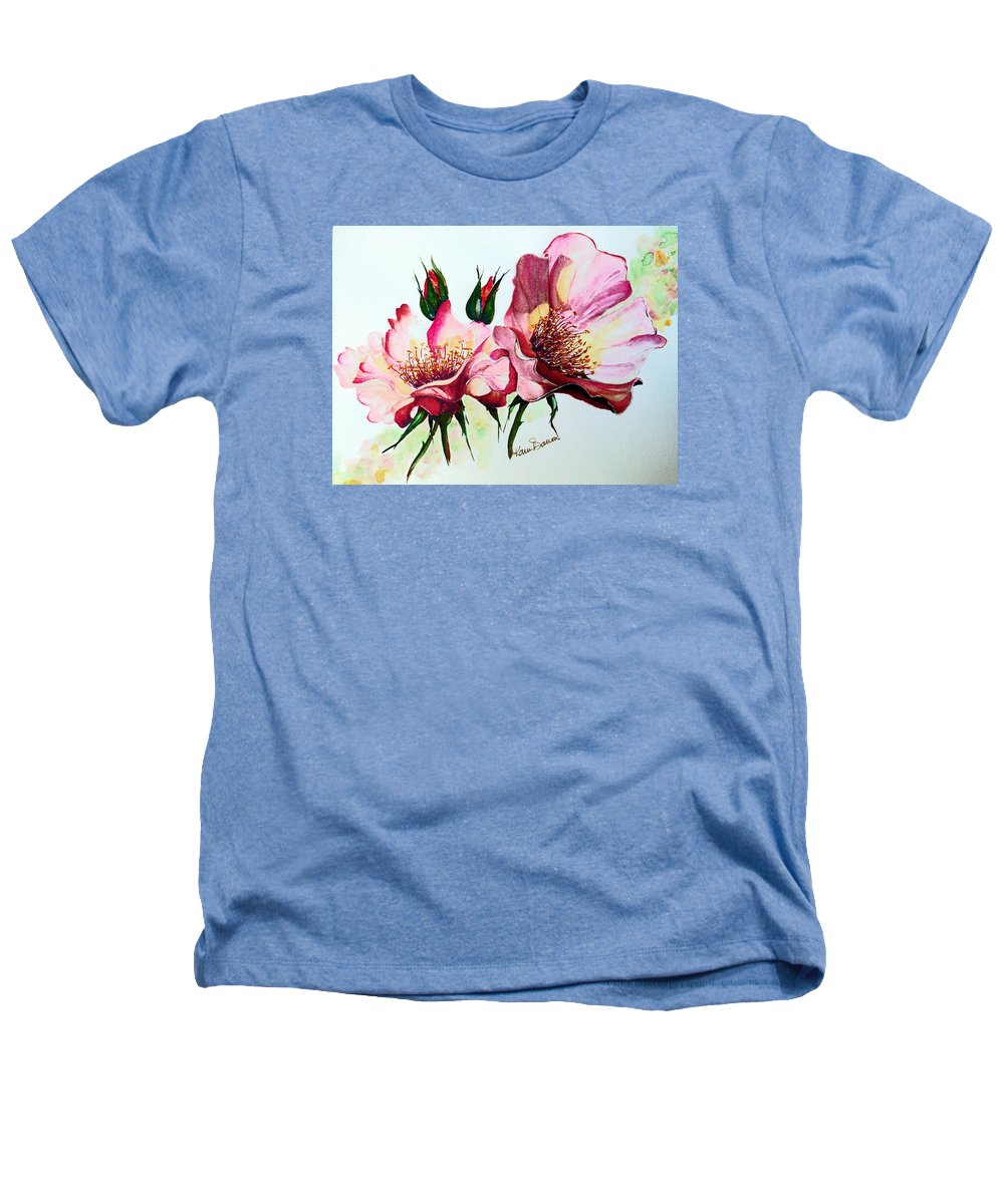 Flower Painting Heathers T-Shirt featuring the painting A Rose Is A Rose by Karin Dawn Kelshall- Best