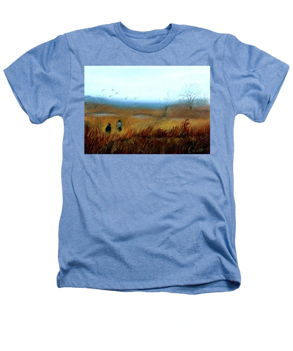 Figures Heathers T-Shirt featuring the painting A Winter Walk by Gail Kirtz