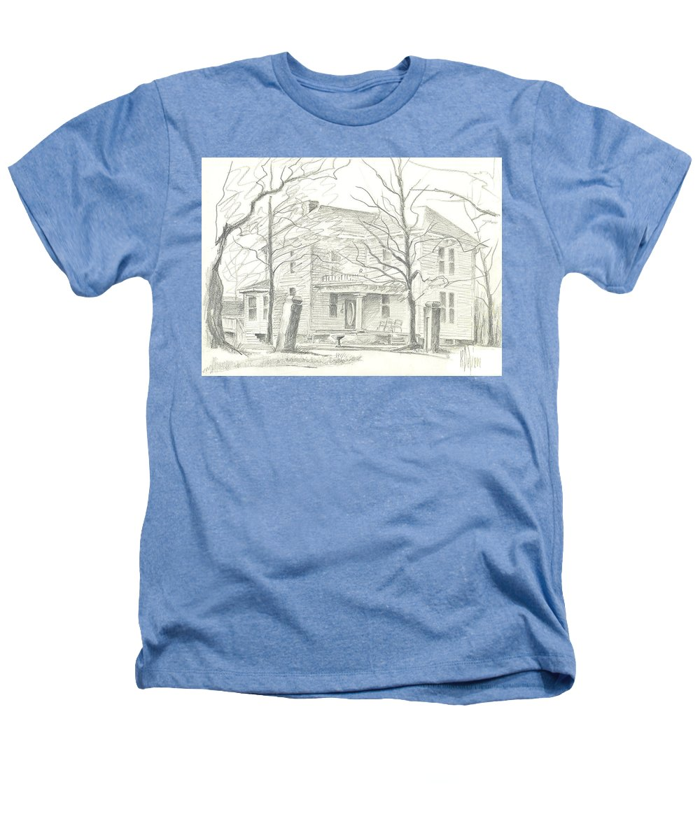 American Home Ii Heathers T-Shirt featuring the drawing American Home II by Kip DeVore