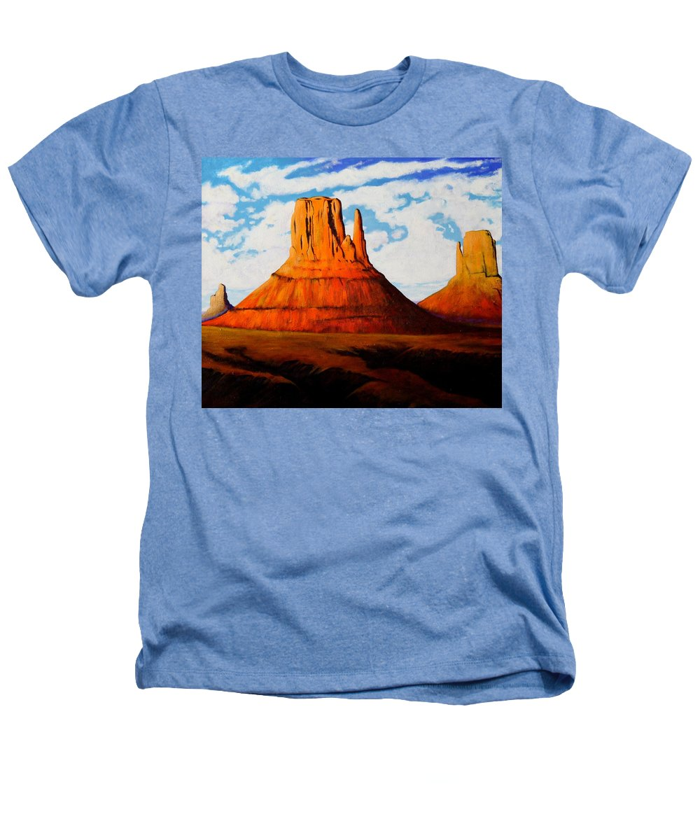 Landscape Of Western Usa Heathers T-Shirt featuring the painting Ancient Land Monument Valley by Joe Triano