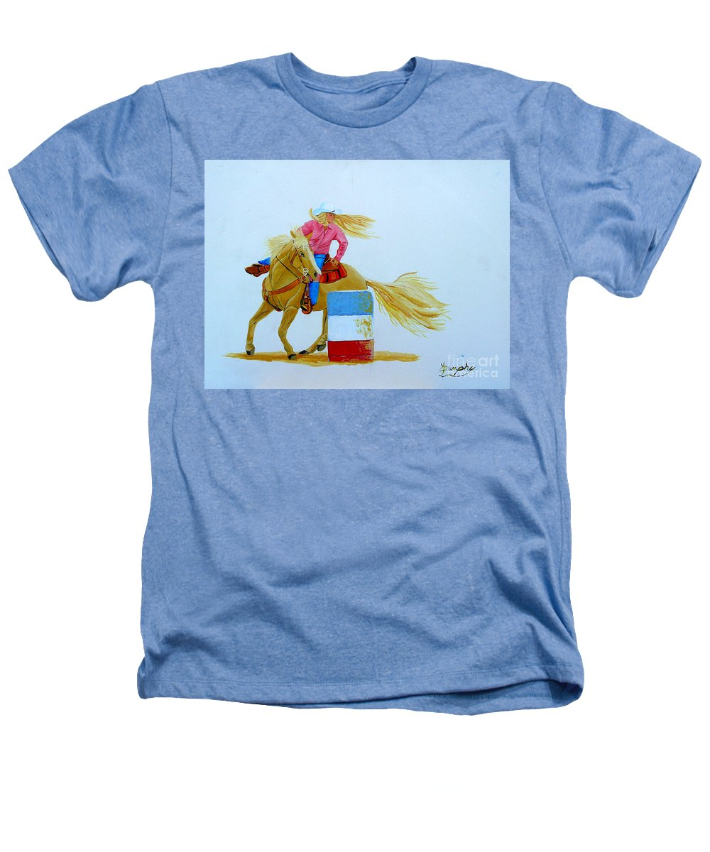 Rodeo Heathers T-Shirt featuring the painting Barrel Racer by Anthony Dunphy