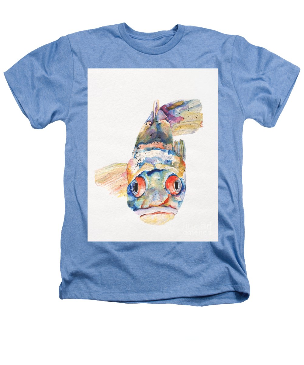 Pat Saunders-white Heathers T-Shirt featuring the painting Blue Fish  by Pat Saunders-White