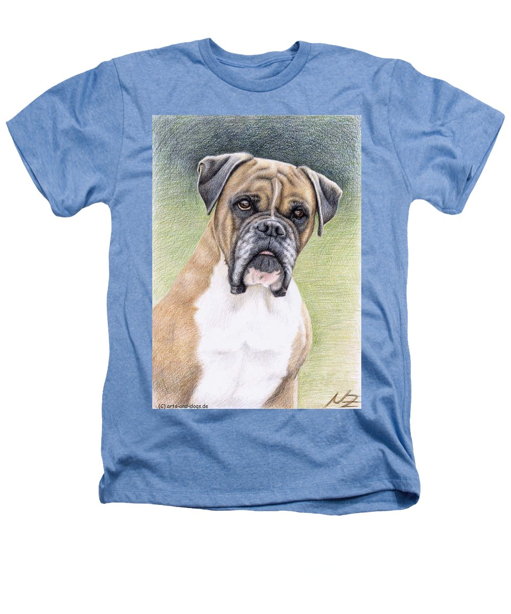 Dog Heathers T-Shirt featuring the drawing Boxer Portrait by Nicole Zeug