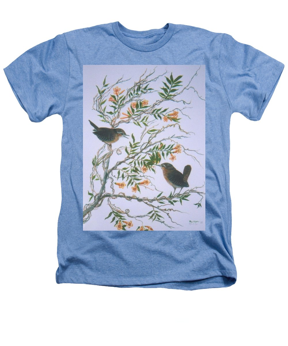 Bird; Flowers Heathers T-Shirt featuring the painting Carolina Wren And Jasmine by Ben Kiger