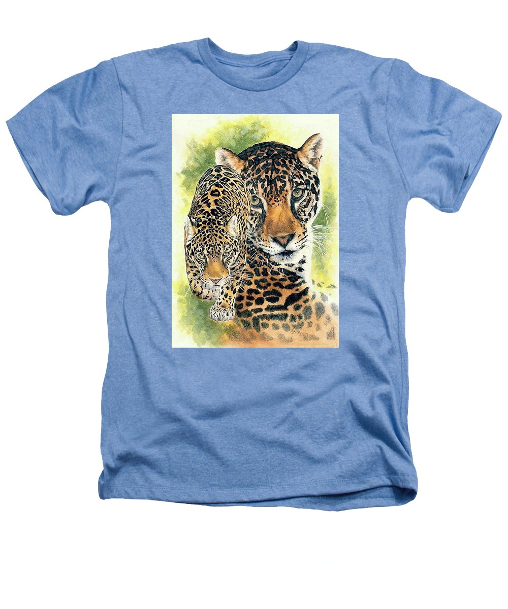 Jaguar Heathers T-Shirt featuring the mixed media Compelling by Barbara Keith