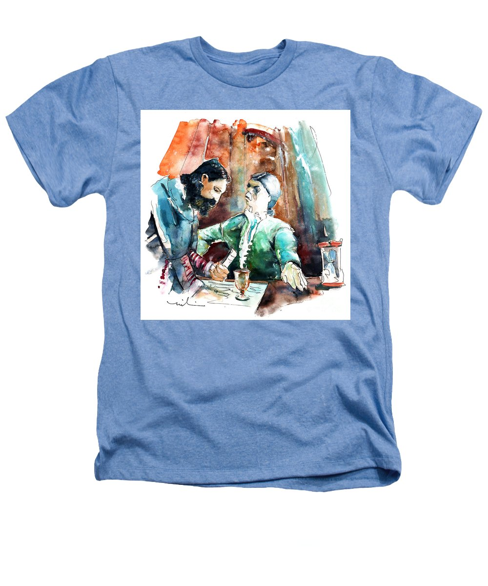Portugal Heathers T-Shirt featuring the painting Conquistadores On The Boat In Vila Do Conde In Portugal by Miki De Goodaboom