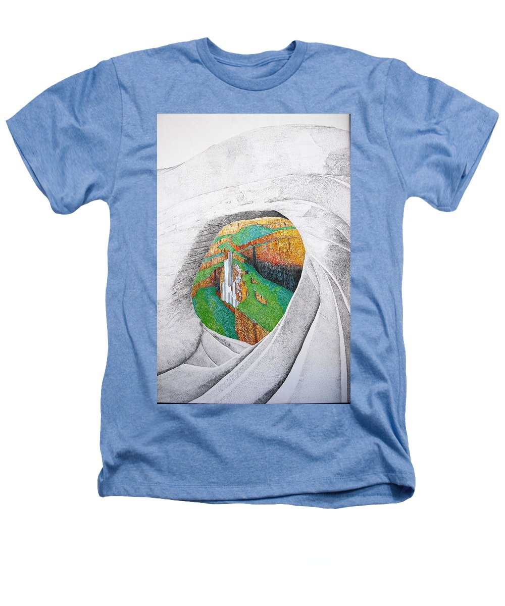 Rocks Heathers T-Shirt featuring the painting Cornered Stones by A Robert Malcom