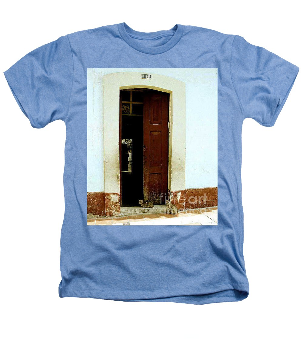 Cats Heathers T-Shirt featuring the photograph Dos Puertas Con Dos Gatos by Kathy McClure