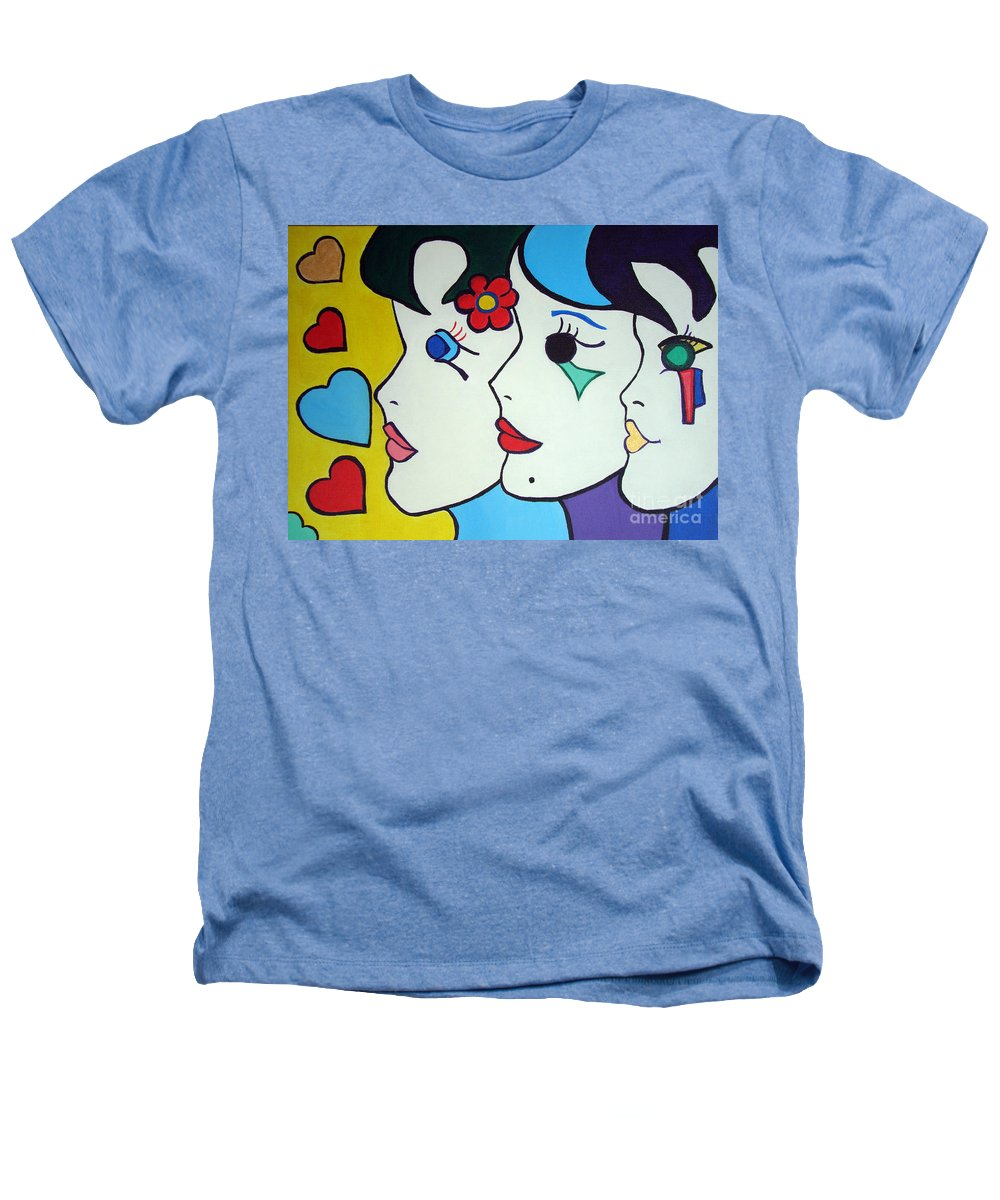 Pop Art Heathers T-Shirt featuring the painting Falling In Love by Silvana Abel