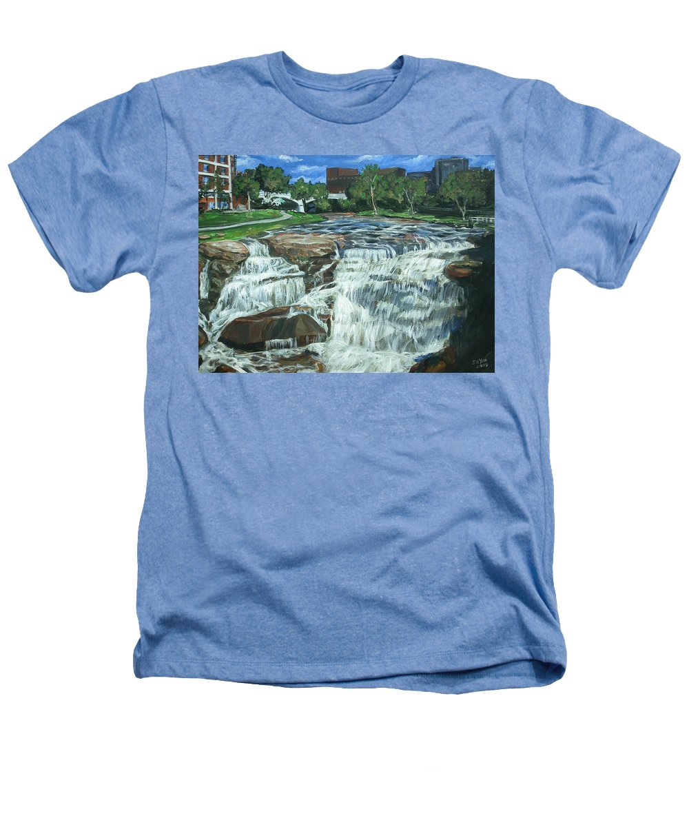 Waterfall Heathers T-Shirt featuring the painting Falls River Park by Bryan Bustard