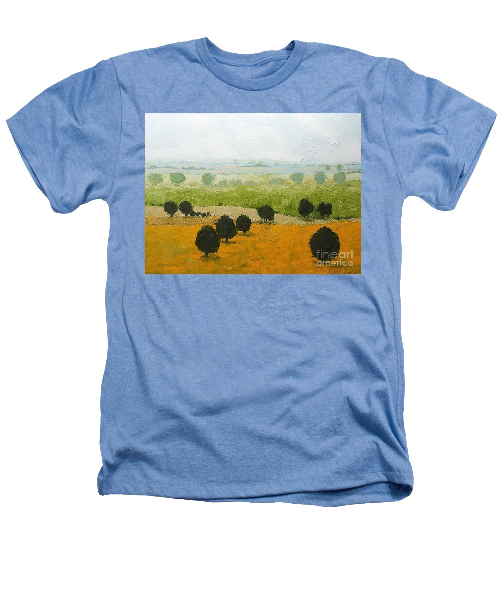Landscape Heathers T-Shirt featuring the painting Fog Lifting Fast by Allan P Friedlander