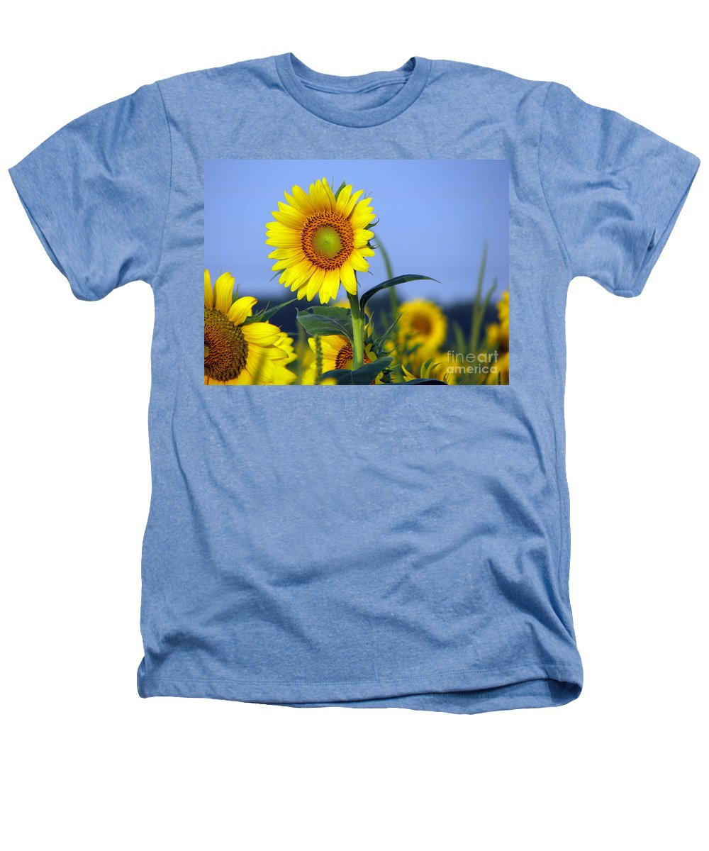Sunflower Heathers T-Shirt featuring the photograph Getting To The Sun by Amanda Barcon