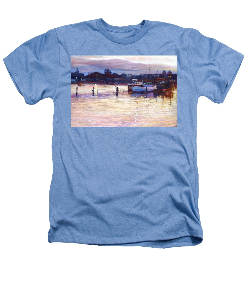 Lynda Robinson Heathers T-Shirt featuring the pastel Harbour Lights - Apollo Bay by Lynda Robinson