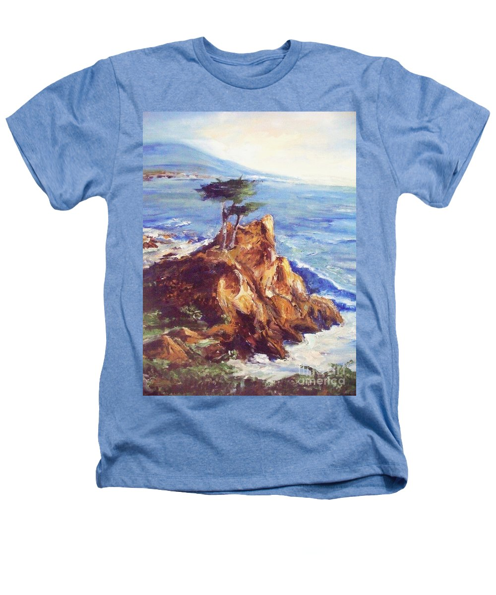 Seascape Heathers T-Shirt featuring the painting Imaginary Cypress by Eric Schiabor