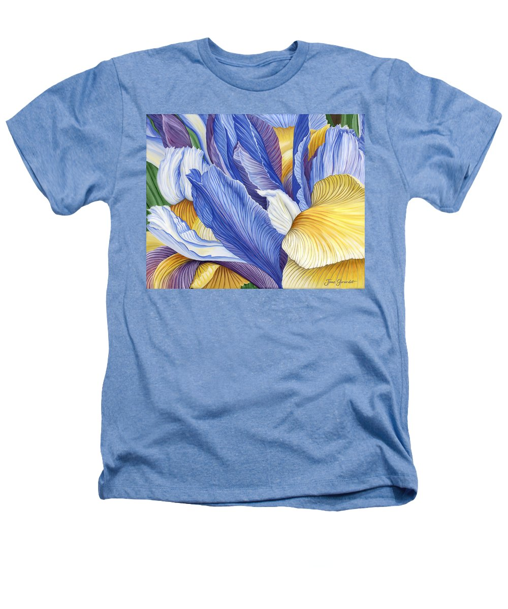 Iris Heathers T-Shirt featuring the painting Iris by Jane Girardot