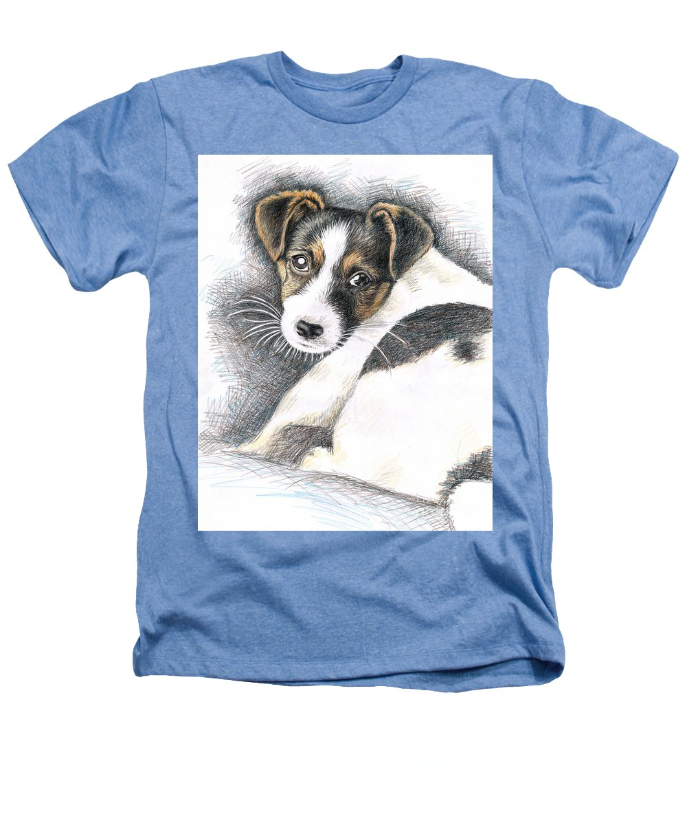 Dog Heathers T-Shirt featuring the drawing Jack Russell Puppy by Nicole Zeug